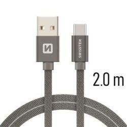 Swissten USB/USB-C kabel 2,0 m, šedá