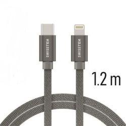 Swissten datový kabel USB-C/Lightning 1,2 m šedý