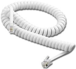 Smarton kroucený tel. kabel, 4m (bílý)