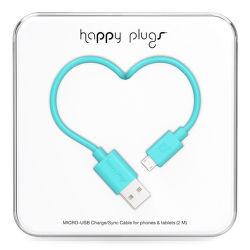 Happy Plugs microUSB kabel 2m, tyrkysová
