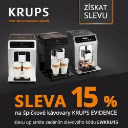 Sleva 15 % na kávovary Krups