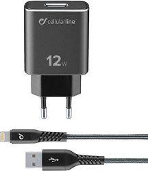CellularLine Tetra Force nabíječka 12W + USB/Lightning kabel 1m, černá