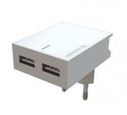 Swissten Travel Slim adaptér Smart IC 2xUSB 3 A, bílá
