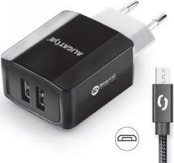 Aligator Smart IC 2x USB síťová nabíječka + kabel Micro USB, černá