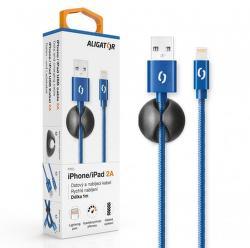 Aligator datový kabel Lightning 1 m 2 A modrý