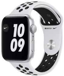 Apple Watch Nike SE 44 mm stříbrný hliník s platinovo černým sportovním řemínkem Nike