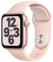 Apple Watch SE 40 mm zlatý hliník s pískově růžovým sportovním řemínkem
