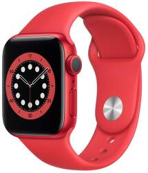 Apple Watch Series 6 40 mm červený hliník s červeným sportovním řemínkem