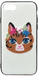 Mobilnet gumové pouzdro pro iPhone 7/8 kočka, bílá