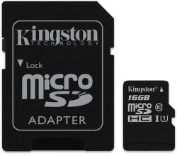 Kingston microSDHC Canvas Select 16 GB UHS-I + SD adaptér