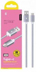 Aligator PLUS AU406 stříbrný 1m, USB-C kabel
