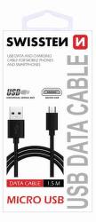 Swissten datový kabel micro USB 1,5m černá