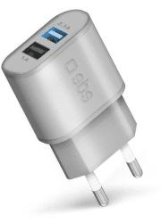 SBS USB Fast Charge stříbrná, cestovní nabíječka