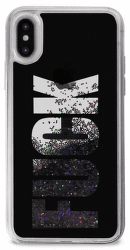 """Puro zadní kryt AQUA """"Fuck"""" pro Apple iPhone X, černé"""