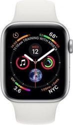 Apple Watch Series 4 44mm stříbrný hliník/sportovní bílý řemínek