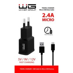 Winner síťová nabíječka Fast 1xUSB + kabel Micro USB, černá