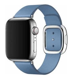 Apple Watch kožený řemínek 40/38 mm M, chrpově modrý