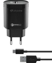 CellularLine nabíječka s USB-C kabelem QC 3.0 18W 1m, černá