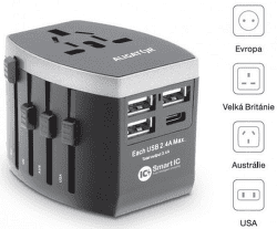Aligator 3x USB / USB-C Smart IC cestovní nabíječka, černá
