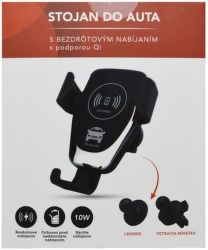Mobilnet univerzální držák s bezdrátovým nabíjením Qi 10W, černá