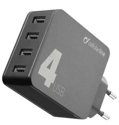 CellularLine Multipower 4 síťová nabíječka 4xUSB 42W, černá