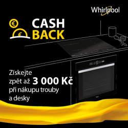 Cashback až 3 000 Kč na varné desky a trouby Whirlpool