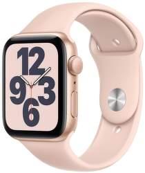 Apple Watch SE GPS 44 mm zlatý hliník s pískově růžovým sportovním řemínkem