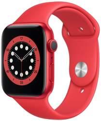 Apple Watch Series 6 44 mm červený hliník s červeným sportovním řemínkem