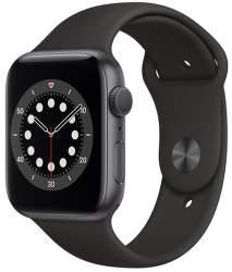 Apple Watch Series 6 44 mm vesmírné šedý hliník s černým sportovním řemínkem
