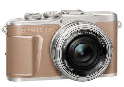Olympus E-PL10 hnědý + 14-42 mm f/3,5-5,6 EZ-M1442EZ Pancake stříbrný