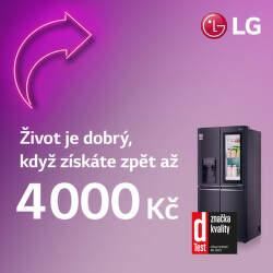 Cashback až 4 000 Kč na americké chladničky LG