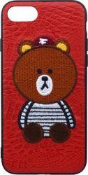 Mobilnet pouzdro s vyšívaným motivem medvídka pro Apple iPhone 8 a 7, červená