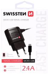 Swissten 2,4A microUSB nabíječka, černá