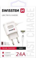 Swissten 2,4A USB-C nabíječka, bílá