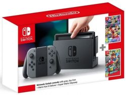 Nintendo Switch šedá + Mario Kart 8 Deluxe + Super Mario Odyssey