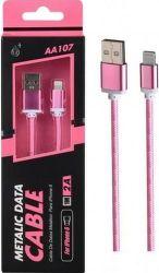 Aligator Plus AA107 Lightning datový kabel 1m, růžový