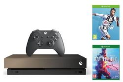 Microsoft Xbox One X 1TB Gold Rush Special Edition + Battlefield V + FIFA 19