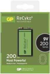 GP ReCyko+ 6F22 (9V), 200 mAh nabíjecí baterie