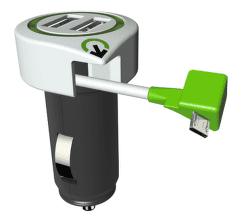 Q2 Power Tripple USB 2xUSB + microUSB kabel, bílá