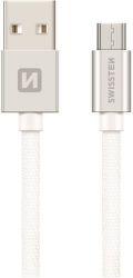 Swissten Textile datový kabel Micro USB 0,2 m stříbrný