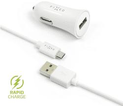 Fixed USB 2,4 A bílá micro USB kabel