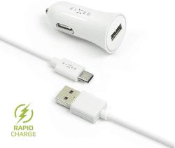 Fixed USB 2,4 A bílá 1 m USB-C kabel