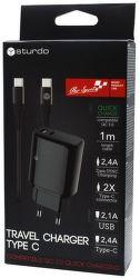 Sturdo QC síťová nabíječka USB/USB-C 2A + kabel