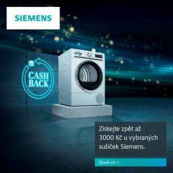 Získejte zpět až 3 000 Kč u vybraných sušiček Siemens.