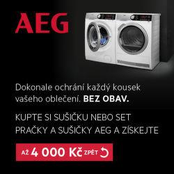 Cashback až 4 000 Kč na sušičky nebo sety AEG