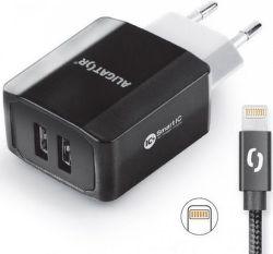 Aligator Smart IC 2x USB síťová nabíječka + kabel Lightning, černá
