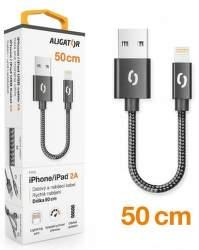 Aligator Premium datový kabel Lightning 0,5 m 2 A černý