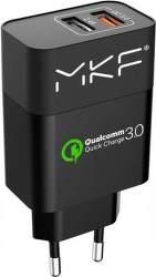 Inhouse MKF-QC3AC2 síťová nabíječka 2x USB QC 3.0, černá