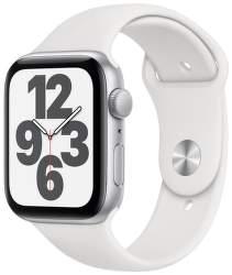Apple Watch SE 44 mm stříbrný hliník s bílým sportovním řemínkem