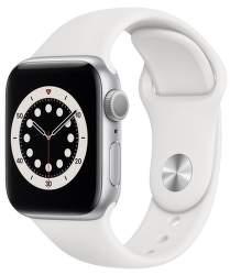 Apple Watch Series 6 40 mm stříbrný hliník s bílým sportovním řemínkem
